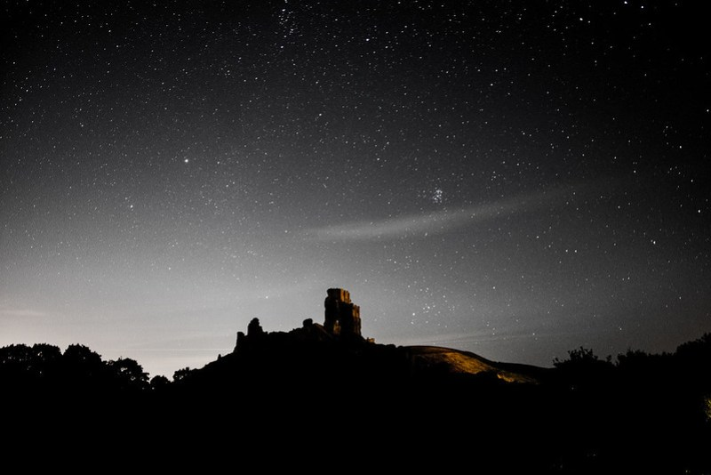 Corfe Castle at night