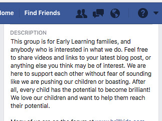 Early Learning Parents Facebook Group