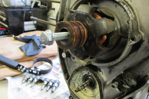 Installing Rotor Removal Bolt in Crankshaft Nose
