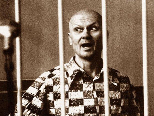 Andrei Chikatilo inside a prison cell