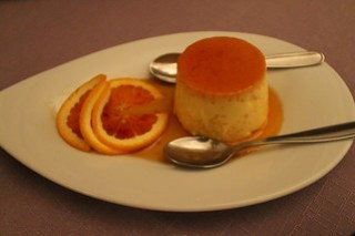 Flan with honey and blood-orange for dessert.