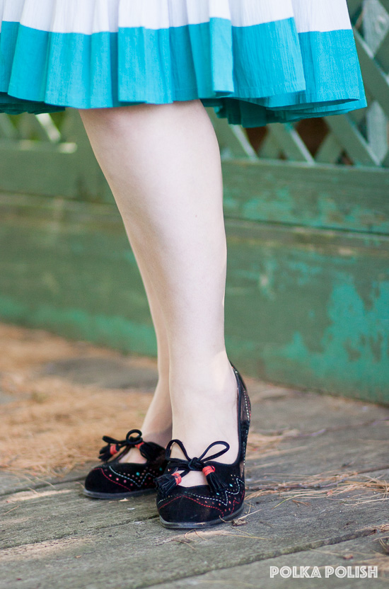 Miss L Fire shoes add a pop of color with their pierced design in red, blue, and yellow