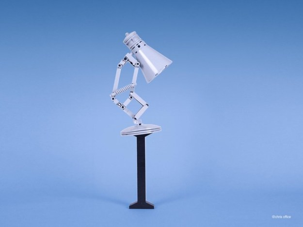 this lego version of the famous pixar desk lamp is utterly adorable