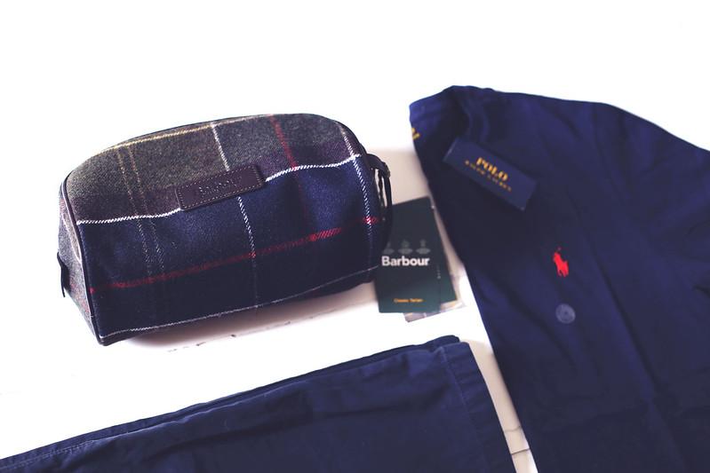 Barbour washbag and Ralph Lauren t-shirt