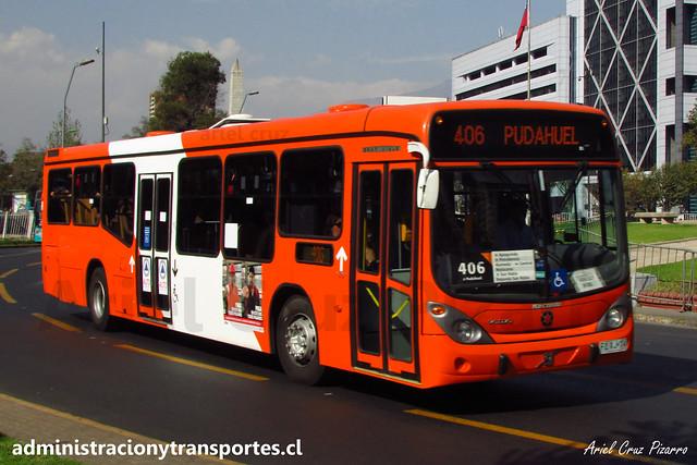 Transantiago - 406   Express   Marcopolo Gran Viale - Volvo (Biportal) / FLXJ74