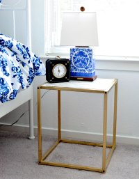 DIY Gold and Faux Marble Nightstand - A Thing of Beauty