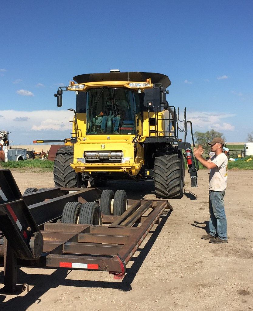 Brandon directing the combine