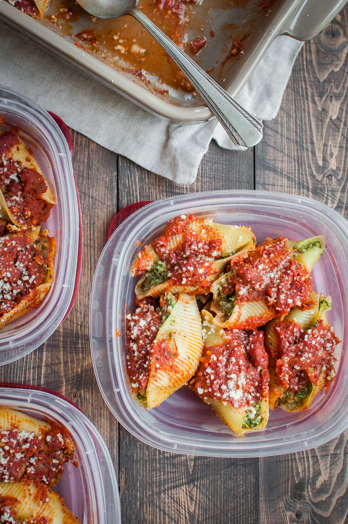 Italian-style ricotta stuffed shells packed with high protein (disguised!) beans and healthy greens