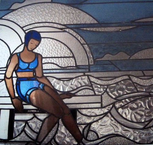 Art Deco stained glass of Molitor swimming pool by Louis B  Flickr