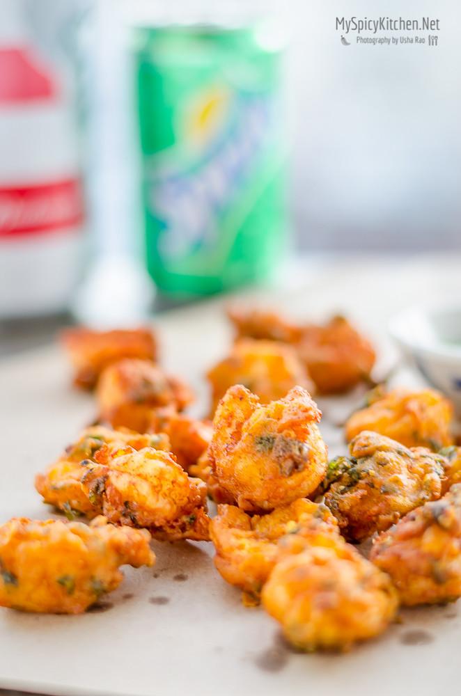 Blogging Marathon, Cooking Carnival, Protein Rich Food, Cooking With Protein Rich Ingredients, Cooking With Shrimp, Shrimp Recipes, Seafood, Prawns, Shrimp Pakoda, Prawn Pakora, Fried Shrimp,  Indian Food, Deep Fried, Snack, Appetizer