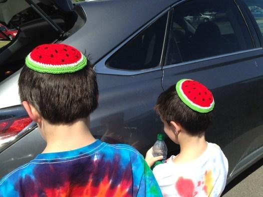 Shug and Shugie in Little Rock with their Watermelon Kippahs