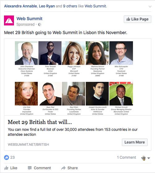 Web Summit ad targeting