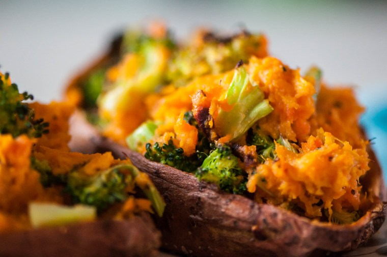 Cheesy Broccoli Twice Baked Sweet Potatoes 5
