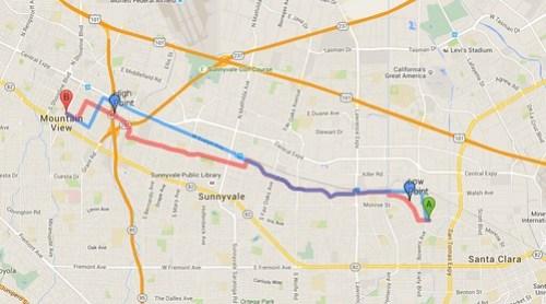 Bike route compare: Google vs MapQuest