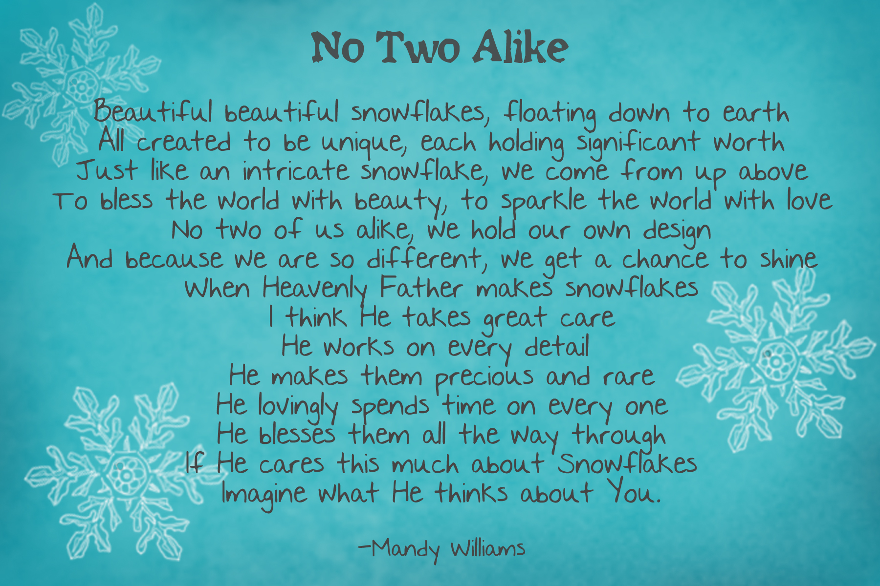 The Legend Of The Snowflake Printable Poem