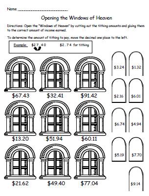 Math worksheets teaching tithing