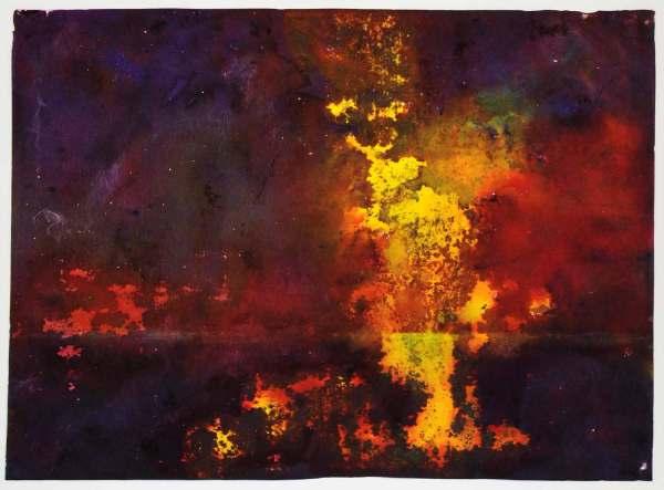 1970 Print Emil Nolde Abstract Watercolor Expressionism Autumn Seascape Art