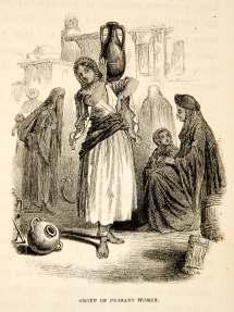 1858 Wood Engraving Fellah Peasant Woman Dress Barefoot