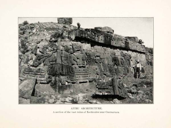1914 Print Carvings Aztec Architecture Xochicalco Ruins