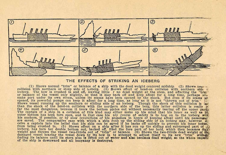 titanic boat diagram msd 6010 wiring harness 1912 print historic ship iceberg sinking shipwreck