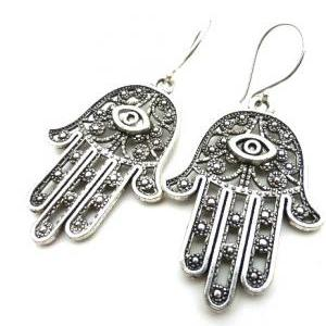 Large Fatima Hamsa Hand Pewter Earrings, With Sterling