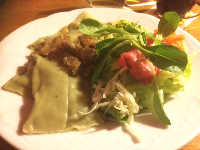 Vegetarian Maultaschen at the Swabian restauarant Zur Kiste