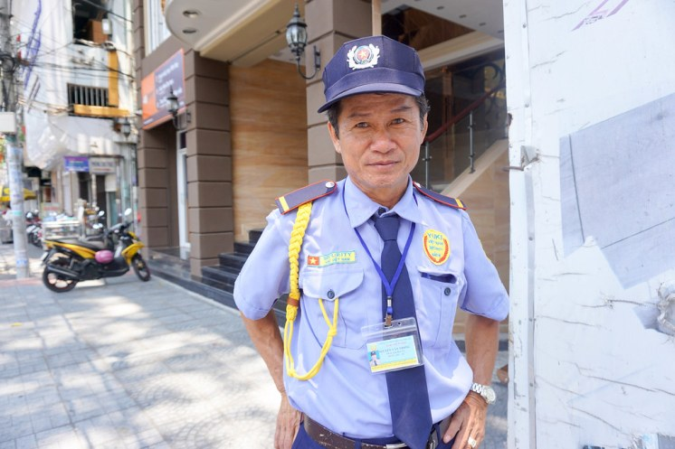 """The Hotel Security Guard in Ho Chi Minh City, Vietnam. I Made Sure to Say """"Hello"""" to Him Everyday. At First He Was Standoffish But Warmed Up a Little Each Day. April 2016"""