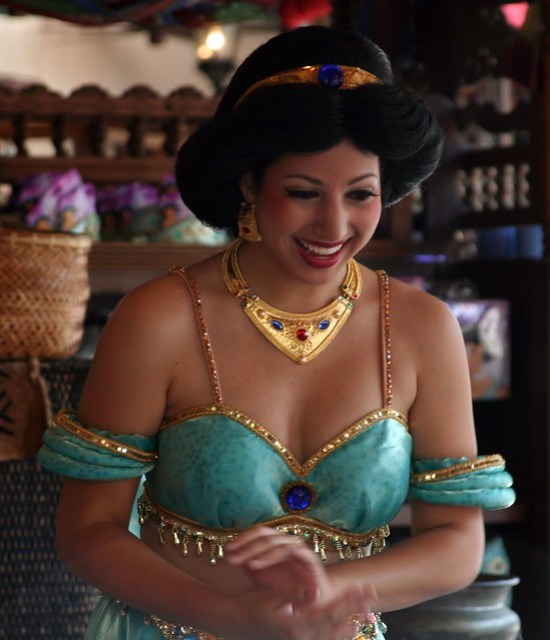 Princess Jasmine in the Agrabah Bazaar near the Magic Carpets of Aladdin