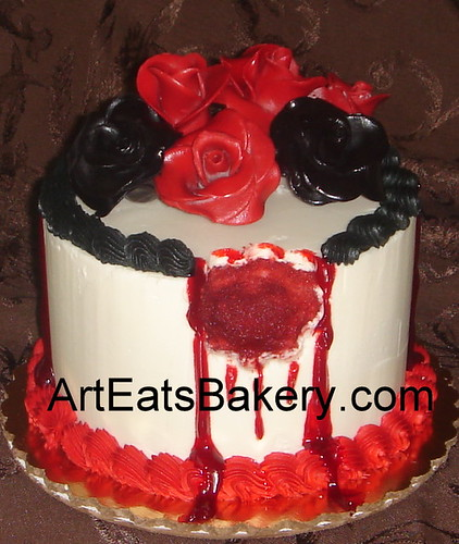 Vampire blood red roses and black roses custom butter