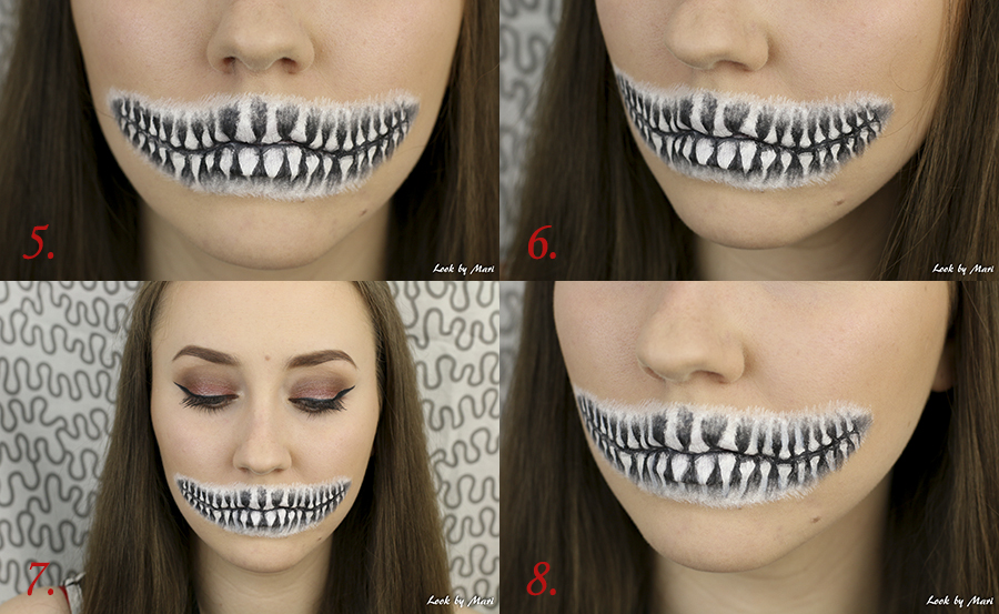 halloween skull mouth makeup tutorial look by mari