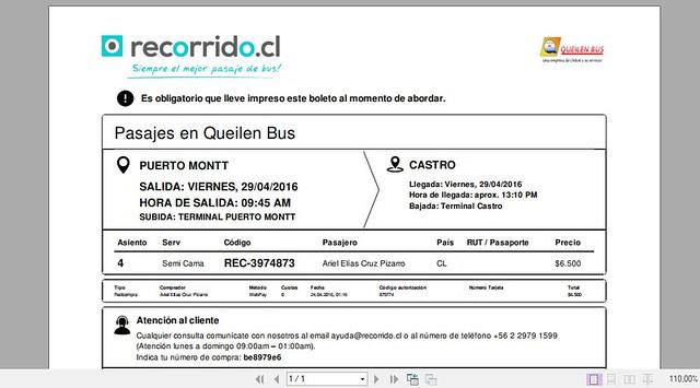 Pasaje Queilen Bus 96