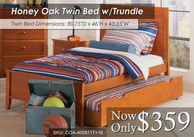 Honey Oak Twin Trundle Bed