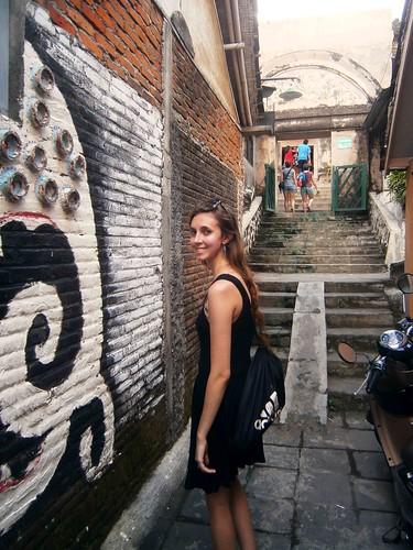 Briana on the way up to Taman Sari