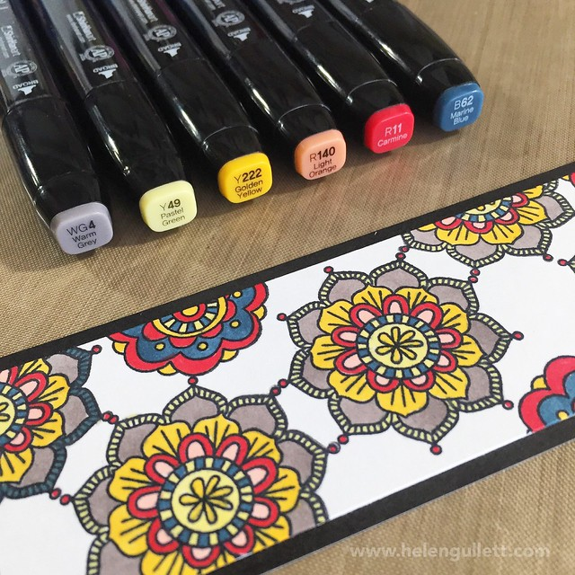 Ornate Blossoms Bookmarks | Coloring Bookmark with Ornate Blossoms Stamp Set and ShinHan Touch Twin Markers from CTMH (Close To My Heart)