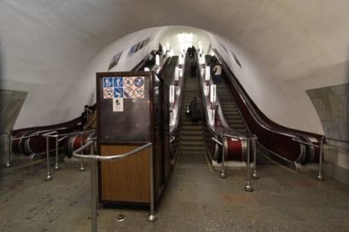 Escalator attendant booth on the Kiev Metro