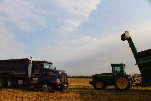 Grain cart action.