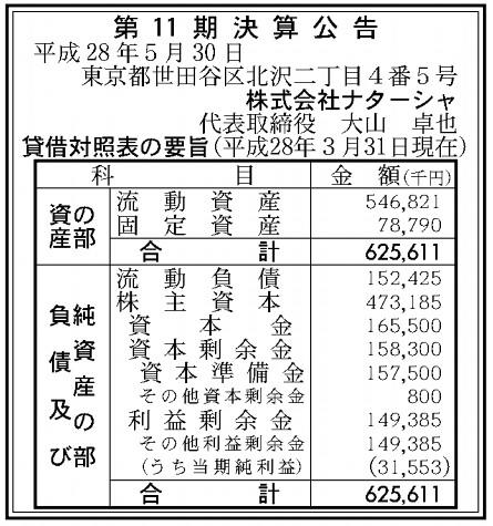 株式会社ナターシャ 第11期 決算公告