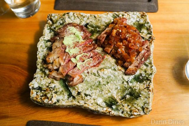 california holstein beef strip, grilled, fresh wasabi, nara-zuke pickle