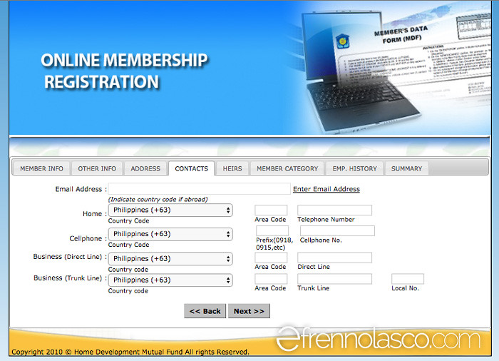Pagibig online registration - contacts