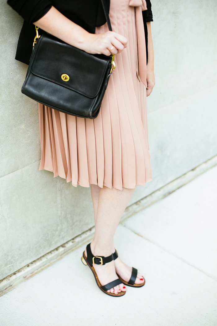 black blazer striped tank blush midi skirt11