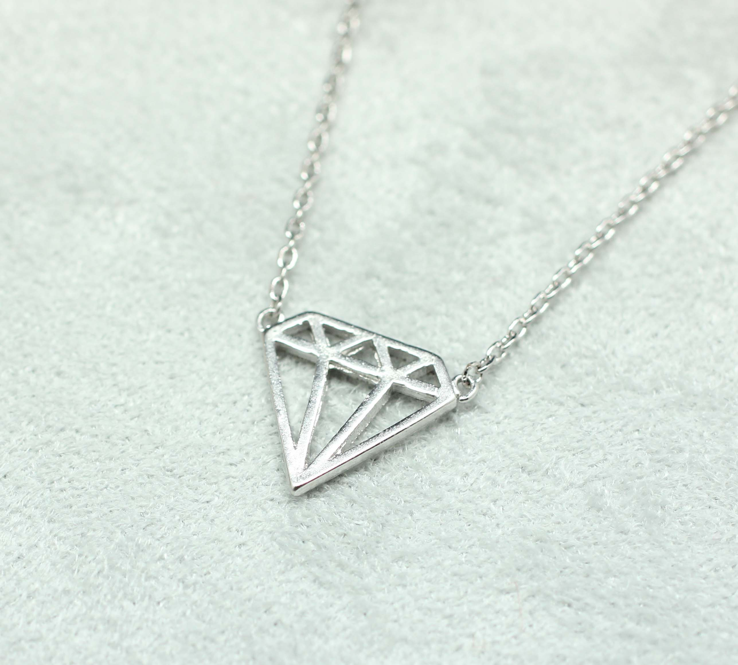Cut Out Diamond Shape Necklace In Silver On Luulla