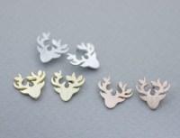 Antler, Elk Deer ,Deer Head, Stag ,Reindeer Stud Earrings ...