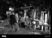 Stock Of Two Mayan Women Cooking Barefoot In