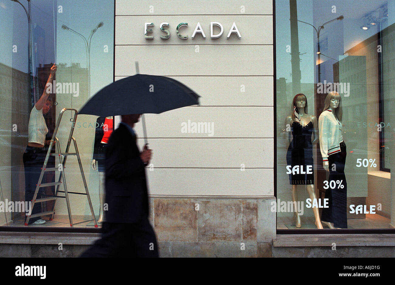 hight resolution of shop window of escada boutique in warsaw poland