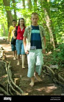 Boys Walking Barefoot