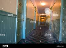 Ghost-ectoplasm Mist In Haunted Hotel Hallway Stock