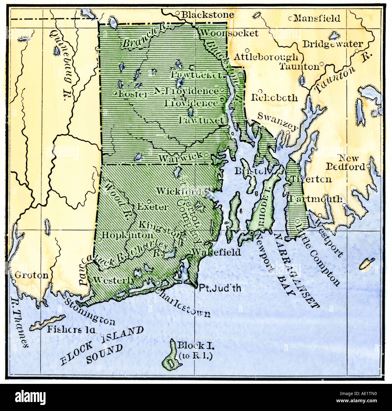 Map Of Rhode Island Showing The Disputed Colonial