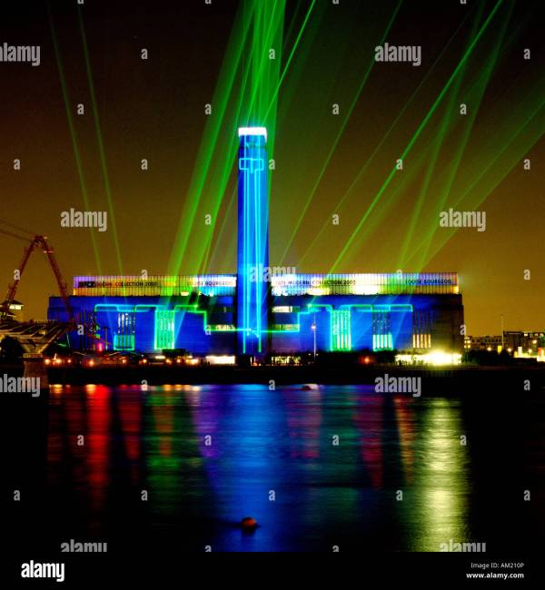 Tate Modern Opens Fantastic Laser Show Stock Royalty Free