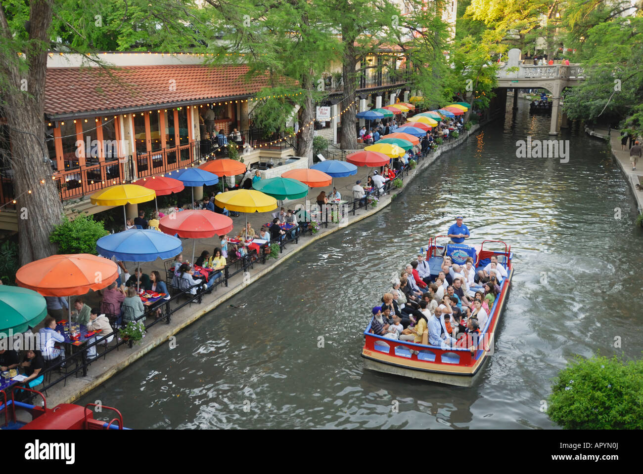 Paseo Del Rio River Walk Along San Antonio River In Texas