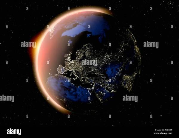 Satellite Of Planet Earth Europe Night Stock 16866167 - Alamy